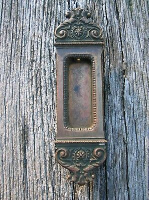 Vintage Old Antique Ornate Bronze Pocket Door or Window Pull