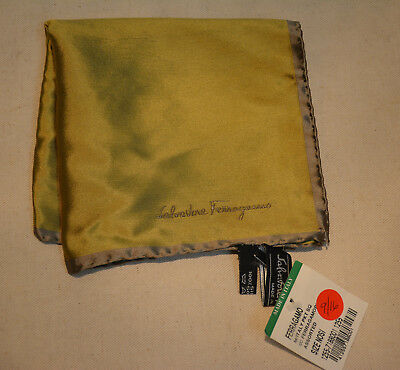 NEW- Salvatore Ferragamo Gold Yellow Silk Pocket Square Handkerchief Italy $140