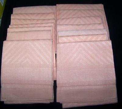 Wow 14 Large Vintage Damask Towels Hemstitch Flame Pattern Peach