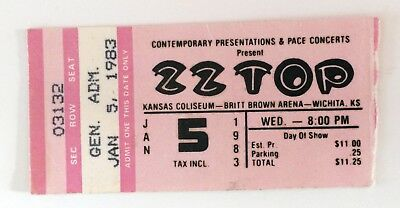 ZZ TOP Ticket Stub / El Loco-Motion Tour 1/5/83 Wichita, KS / Britt Brown Arena