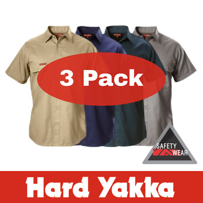 3x Hard Yakka Cotton Drill Shirt Short Sleeve Y07510 - All Colours