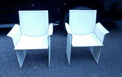 Pair Of White Leather Italian Matteograssi Mid Century Modern Arm Chairs