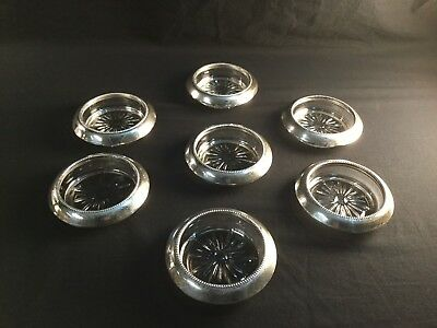 Vintage Frank M Whiting Beaded Sterling Silver Rim Glass Wine Coasters Lot
