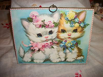 Vintage Collectible Coby Fluffy Kittens Cats Wood Wall Art Nursery Plaque