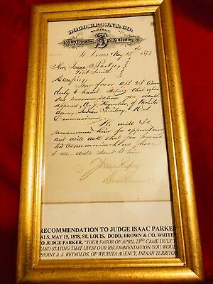 1878 Isaac Parker The Hanging Judge Indian Territory Commissioner document RARE