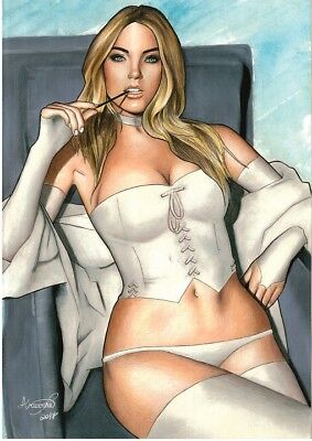 MARVEL Comics Sexy WHITE QUEEN Original Art EMMA FROST X-MEN CYCLOPS WOLVERINE