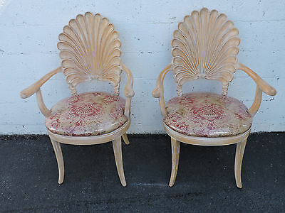 Hollywood Regency Grotto Scalloped Shell Back Pair of Dining Side Chairs 7795