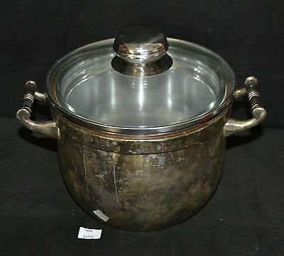 ThriftCHI ~ Silverplated Ice Bucket w 2 Qt Pyrex Glass Insert