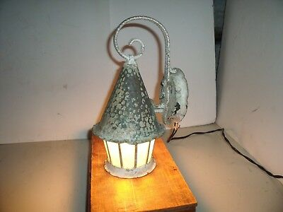 Vintage Arts Crafts Copper Fixture Textured Glass Panels Porch Light Lamp Sconce