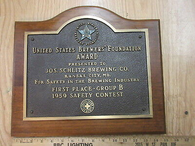 1959 schlitz brewing co. brass safety award plaque large heavy wall decor beer