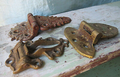 THREE UNUSUAL Old Antique Cast Iron Brass Ornate Rusty Assorted Hinges Orphans