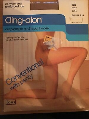Vintage Sears CLING-ALON Stockings NYLON Conventional Reinforced Toe Tall Nude