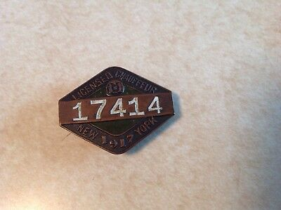 1917 New York Chauffer license badge/plate