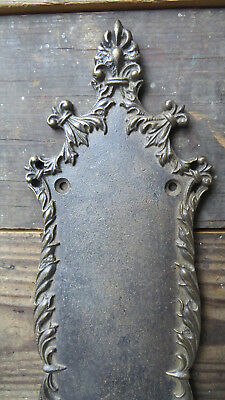 Old Vintage Antique CAST BRONZE Ornate Curvy FRENCH Finger Push Door Plate