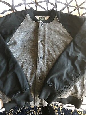 J. Crew Men's 100% Cotton Gray Black Baseball Jacket Size Medium