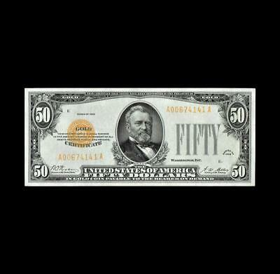 Flawless 1928 $50 Gold Certificate Superb Gem Uncirculated Condition
