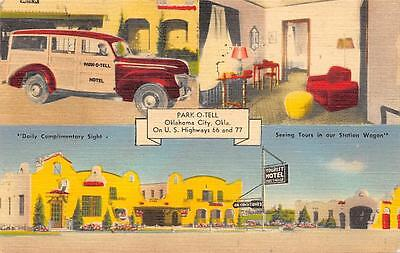 Park-O-Tell Hotel Woody Tours Oklahoma City, OK Route 66 Roadside Postcard 1946
