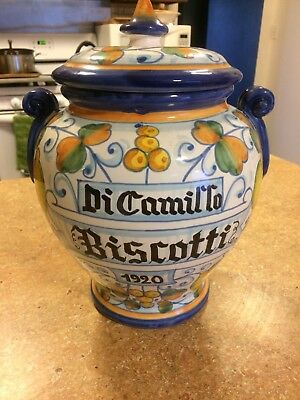 Vintage Italy Biscotti Jar Canister Hand Painted Lemons Blue Trim DiCamillo