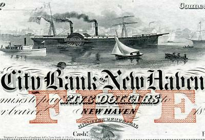 HGR SUNDAY 1850's-60's $5 New Haven CT (PHENOMENAL) Appears GEM UNCIRCULATED