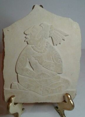 Nice Antique Vintage Aztec Mayan Lime Stone Carved Plaque Mexican Warrior