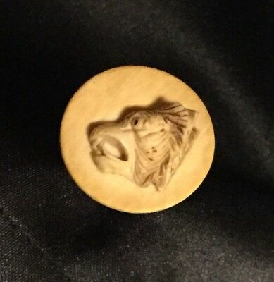 Hatpin Carved Animal Wolf Lion?  Hat Pin Old Antique Vintage Unique Unusual