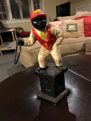 vintage antique black americana lawn jockey cast iron great condition
