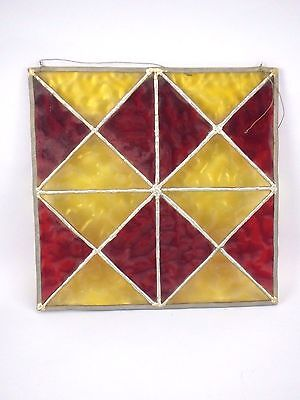 Vtg Leaded Stained Glass Window Red & Yellow Diamond Square Panel Handmade