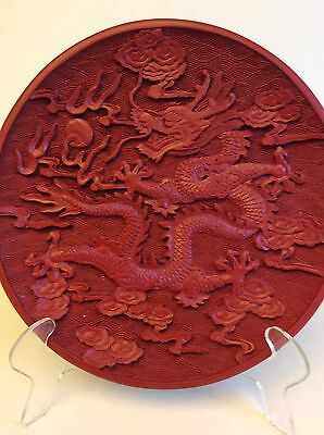 "Chinese Red Cinnabar Carved Dragon Plate, 6 3/4"" Dia"