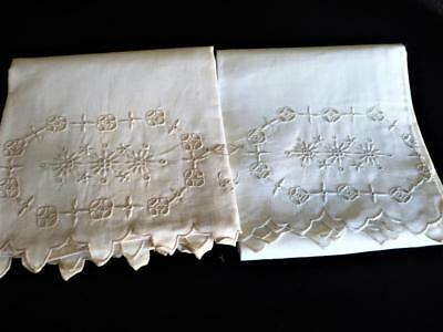 Pair Antique Vintage White Linen Hand Embroidery Pillowcases