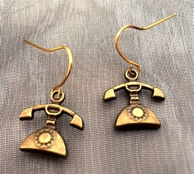 Small Vintage Retro Funky Old School Bronze Gold Plated Telephone Phone Earrings