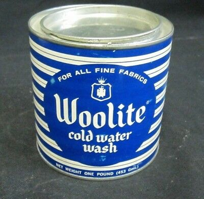 Vintage Round Tin Can Woolite Cold Water Wash Detergent Full Can Unused