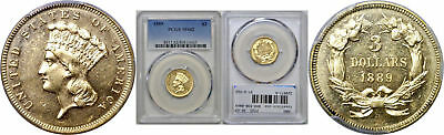1889 $3 Gold Coin PCGS MS-62