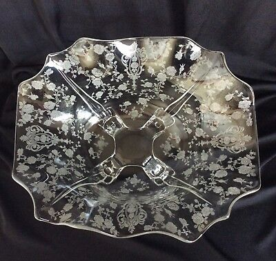 Cambridge Rose Point Rosepoint Crystal Fluted Ruffled Bowl