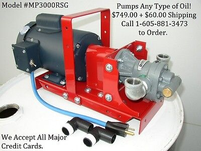 New MP3000RSG Waste Oil/Bulk Oil Transfer Filtration Pump,100 PSI,Biodiesel,WVO,