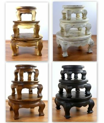 Small Asian Opium Table Round Coffee Plant Stand Handmade Thai Furniture