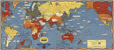 Pictorial 1943 Dated Events War Map Military WWII Historic Poster Wall Art Decor