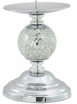 Silver Mosaic One Ball Candlestick with Chrome Base - Candle Holder