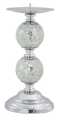 Silver Mosaic Two Ball Candlestick for Dining Table or Mantle Piece