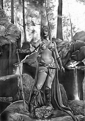 DYNAMITE Comics RED SONJA Original Art SWORD Battle CONAN Warrior SEXY SHE-DEVIL