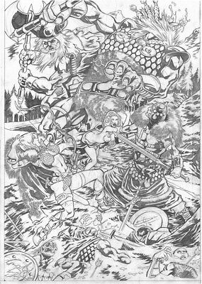 DYNAMITE Comics RED SONJA & CONAN vs VIKING GIANTS Original Art Battle WAR SWORD