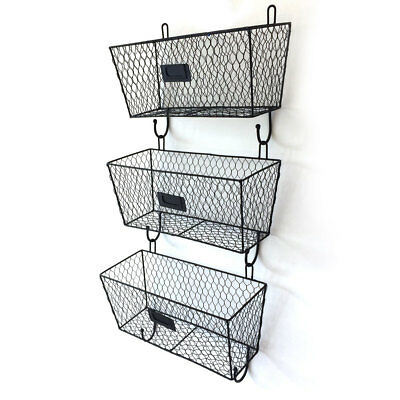 3 x Vintage Style Wall Mounted Storage Basket Wire Letter Mail Organizer