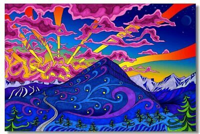 Poster Psychedelic Trippy Colorful Ttrippy Surreal Abstract Astral Art Print 55