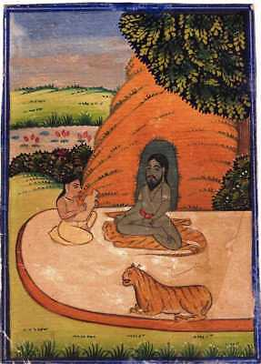 Indian Miniature Painting Of A Yogi Sitting Outside His Cave With Disciple