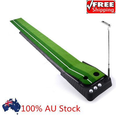 Golf Putting Green Mat Indoor Outdoor Ball Return For Home Use Dual Track System