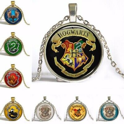 1pcs Harry Potter Hogwarts Slytherin Cabochon Glass Chain Necklace Xmas Gift