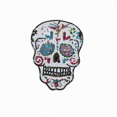 Sequins Skull Embroidery Sew Iron On Patches Badge Bag  Fabric Appliques agt