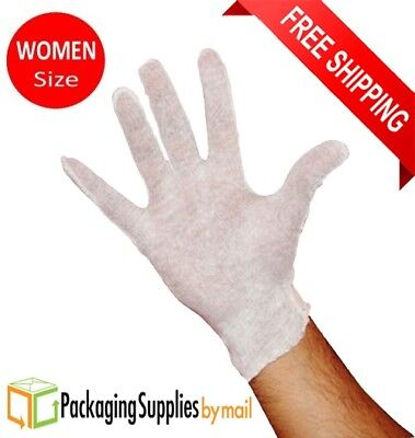 132 Pairs White Inspection Cotton Lisle Economy Work Gloves For Women's Size