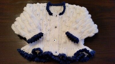 Baby girls hand knitted cardigan 3 - 6  months white & navy
