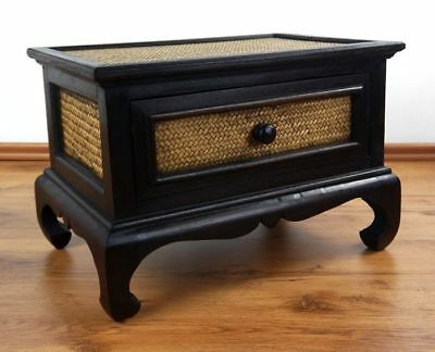 Asian Opium Coffee Table Rattan With Drawer End Handmade Thai Furniture