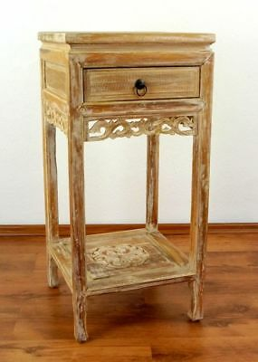 Teak wood bedside table from Bali, shabby chic drawer with unique carvings